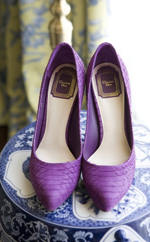 Classy purple wedding shoes idea; Featured Photographer: Skye Blu Photography