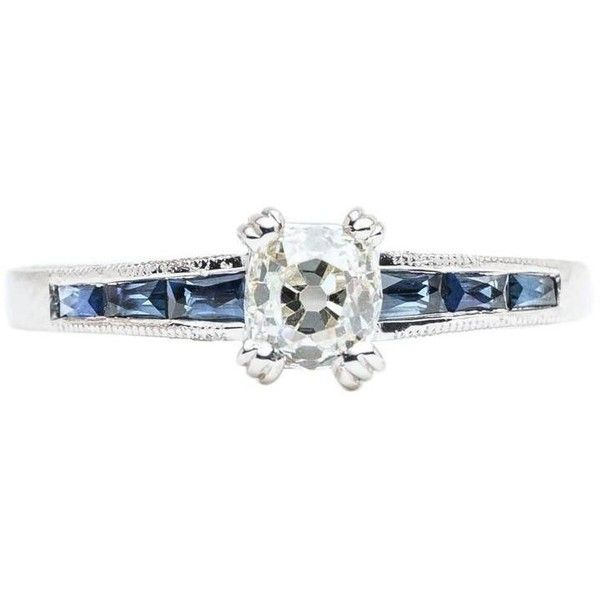 Preowned Art Deco 1.35 Carat Diamond French Cut Sapphire Platinum Ring ($2,295) ❤ liked on Polyvore featuring jewelry, rings, blue, antique sapphire ring, blue sapphire ring, sapphire engagement rings, pre owned engagement rings and blue diamond rings