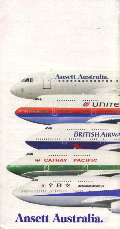 Ansett Australia 1992 timetable (featuring the 747-400 in CGI form)