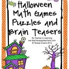 Halloween Math Games, Puzzles and Brain Teasers is a collection of Halloween Math from Games 4 Learning. Contains loads of spooky, Halloween math f...
