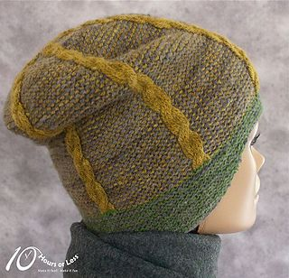 Frame your face with clean lines and classic patterns in this colorfully cabled hat! Seamlessly knitted with just one color at-a-time, the sporty silhouette boasts a stylishly sloped headband and contrasting rope cables on a classic garter crown. Best of all? The clever pattern produces no unsightly floats on the back - and no seams to sew. Sized from child to adult in slouchy and fitted versions, you can even choose a shaped or straight headband to convey your own sense of style.