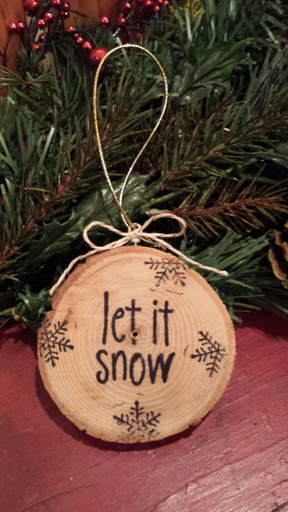 Let It Snow tranche bois ornement par MyRusticHeart sur Etsy