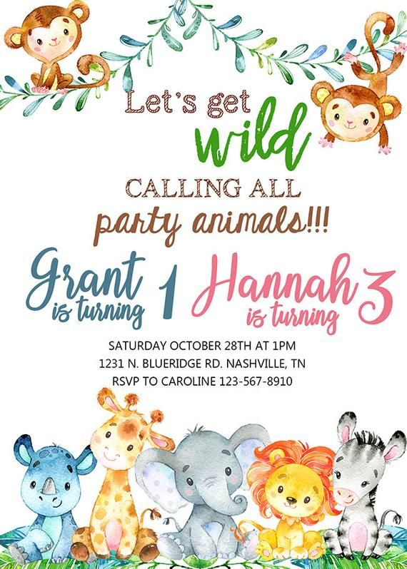Th28 Cute Little Jungle Animals Theme Personalised Birthday Party Invitations