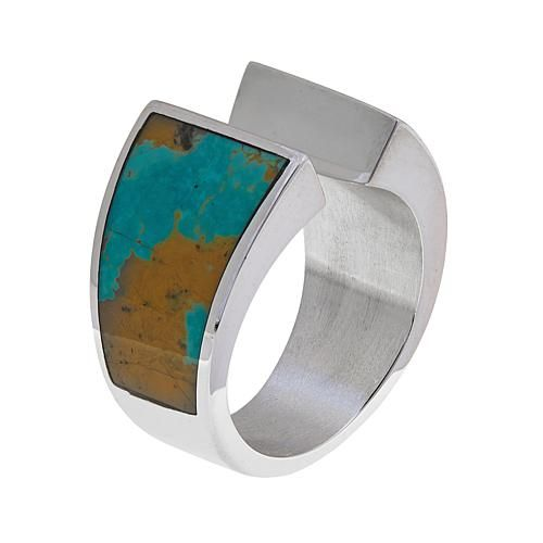 Mine Finds by Jay King Jay King Freeform Tyrone Turquoise Sterling Silver Wraparound Ring