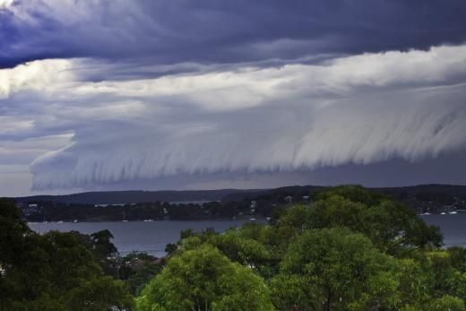 Wave cloud formation rolling over Lake Macquarie (Overlooking Wang Wangi)