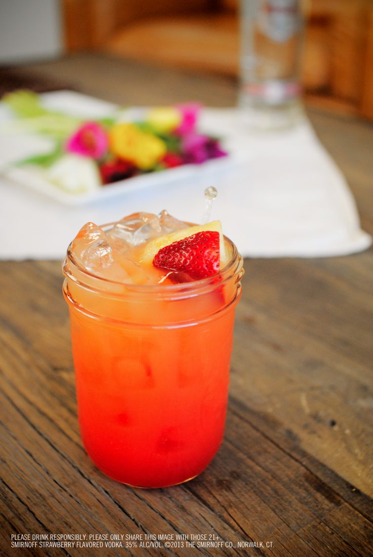 Strawberry Sunrise: 1.5 oz SMIRNOFF® Strawberry Flavored Vodka, 2 oz orange juice, 0.5 oz Grenadine. Fill glass with ice. Add SMIRNOFF® Strawberry Flavored Vodka, orange juice, and grenadine or cranberry juice. Stir well. Garnish with strawberry. #Smirnoff #vodka #drinkrecipe #strawberry #spring