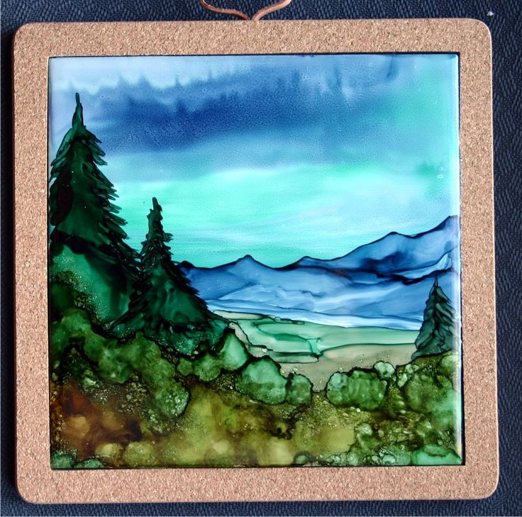 Alcohol Inks on 6x6 tile by Cindy Howe