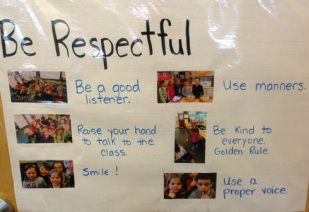 Be safe, be responsible, be respectful with pictures of students modeling the behavior