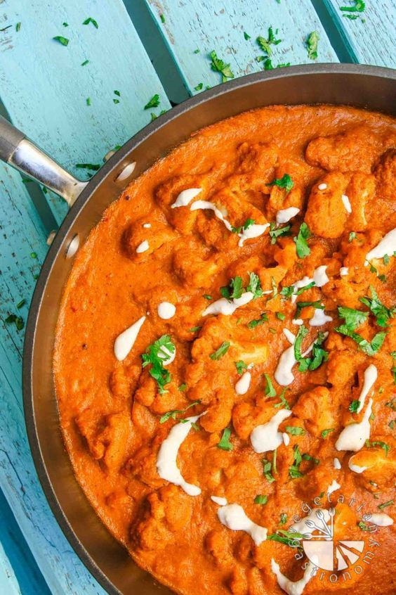 Cauliflower Tikka Masala (vegan, gluten-free) - Vegetarian Gastronomy   This is an awesome healthy vegan re-make of one of my favorite Indian Dishes, except mine is made with whole ingredients, veggies, fresh herbs, spices, and tastes SO much better than it's restaurant-counterpart.