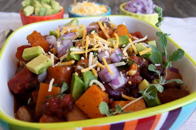 Adam's favorite - Roasted Butternut Squash chili.  I make it at least once a week! I leave out the jalapenos and sometimes I sub in sweet potatoes if I don't have squash, equally delicious :)