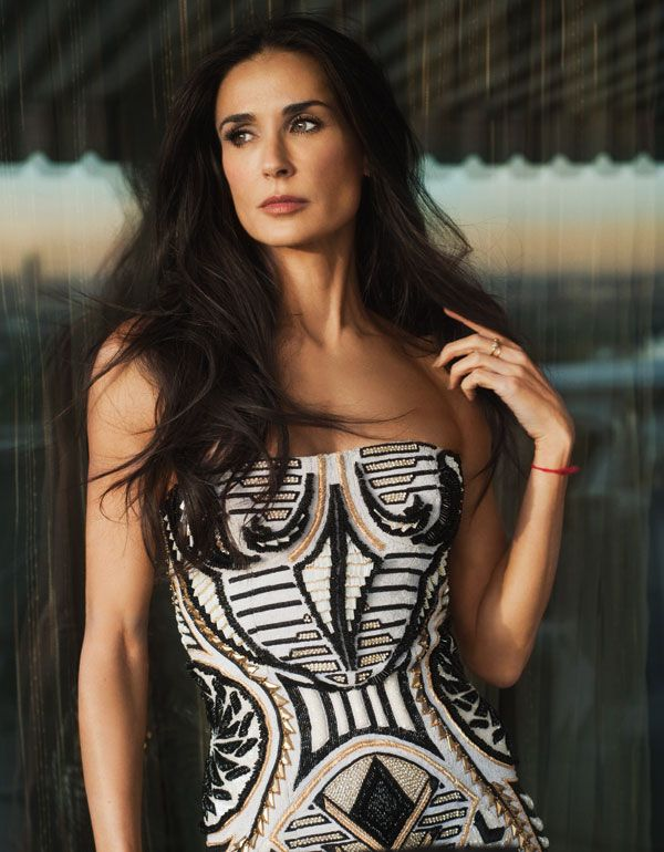 Demi Moore. Balmain mini dress.