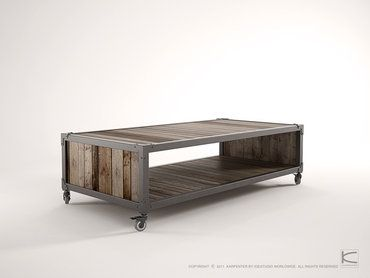 100% Recycled Teak and steel frame Coffee table on castors. A quirky combination of clean lines and rustic design. Built to last, The Atelier range will remain a feature piece for years to come.