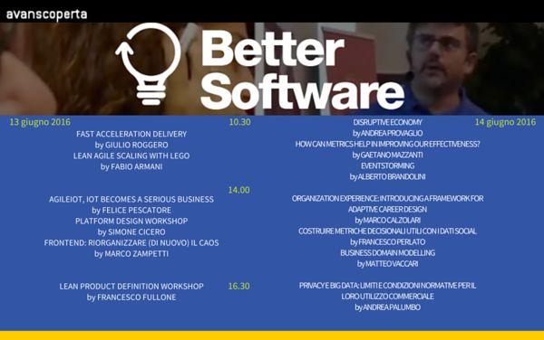 Una newsletter di giovedì? Sì, perché il programma di Better Software è online!