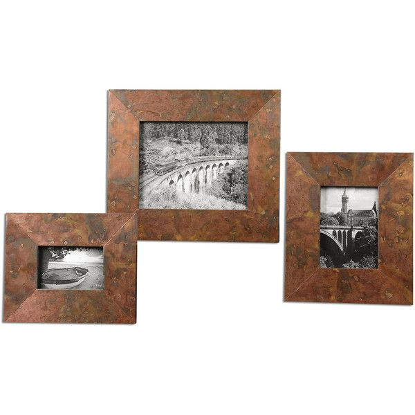 Canyon Industrial Loft Marbled Copper Photo Frames - Set of 3 ($148) ❤ liked on Polyvore featuring home, home decor, frames, industrial home decor, 8x10 picture frames, brown picture frame set, colored frames and 4x6 picture frames