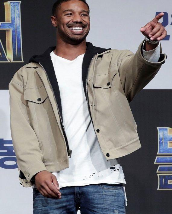0d5a21bf78095c Black Panther Press Conference Michael B. Jordan Jacket