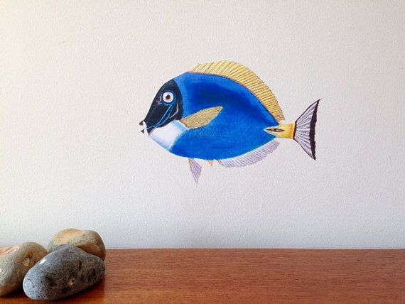 Blue Fish Wall Sticker Tropical fish wall by ChameleonWallArt