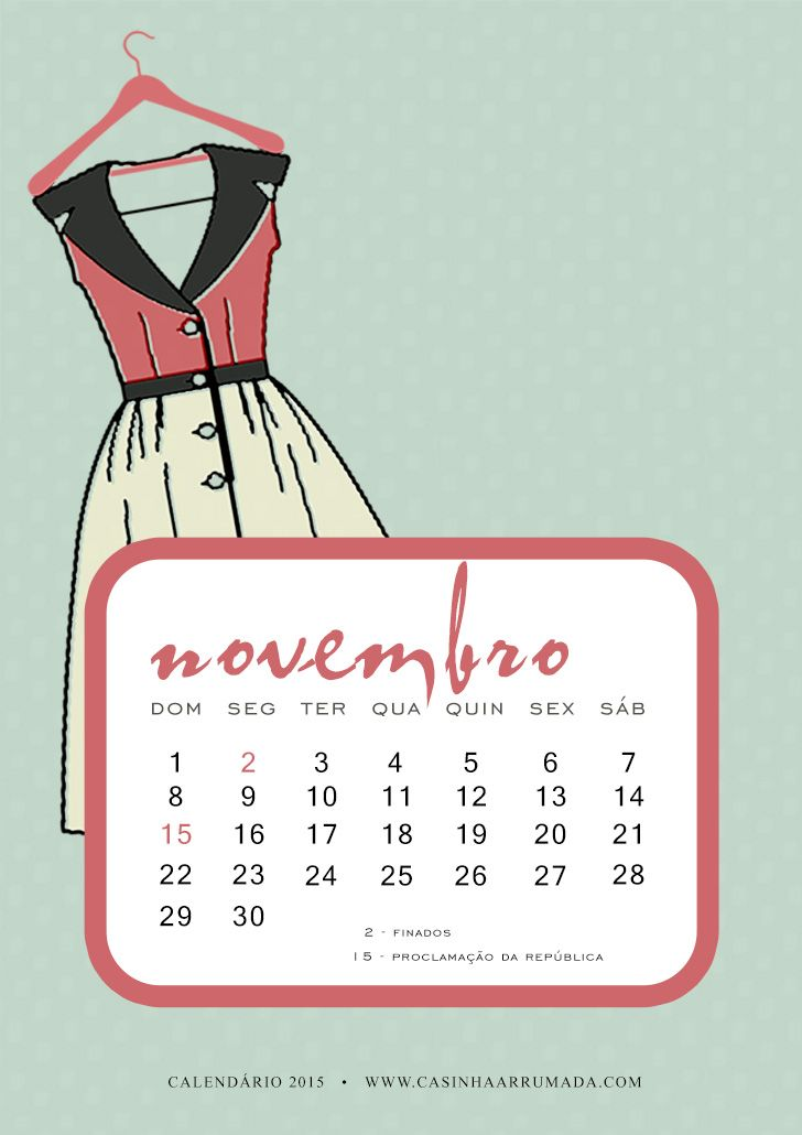Calendário Novembro 2015 para download