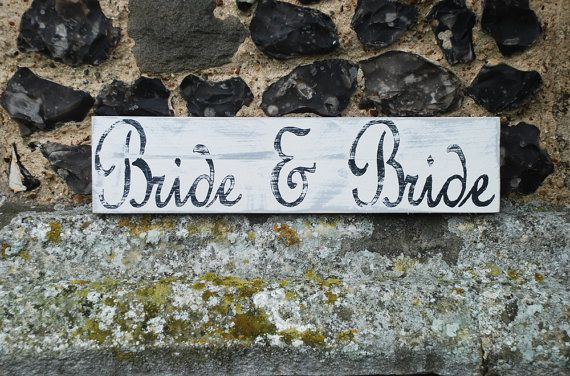Bride & Bride Hand Painted Wooden Gay Lesbian by WoodenFlamingo
