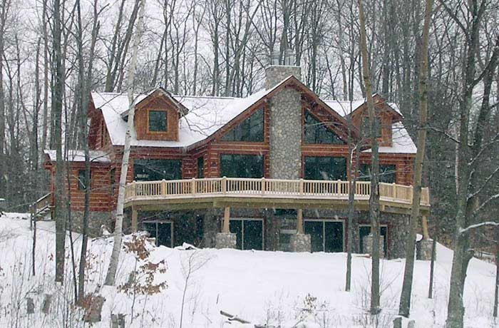 Similar to house plans in co walk out basement replace for Log cabin with walkout basement