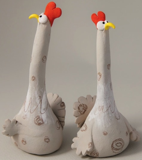 """Two Suspicious Chickens"" - Ana Bossa (stoneware) Just for a good chuckle.. :o))"