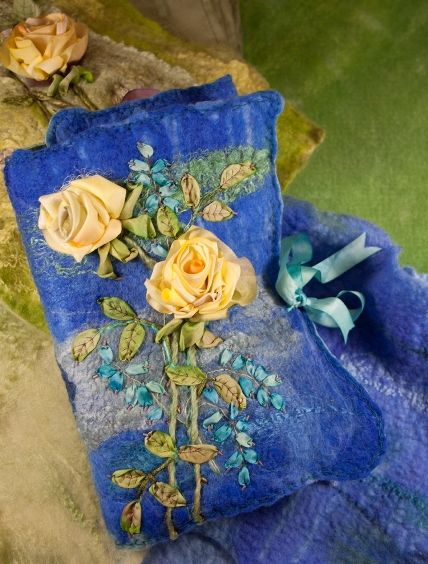Di van Niekerk shares images of projects from her next book--silk-ribbon embroidery on hand-felted backgrounds · Needlework News | CraftGossip.com
