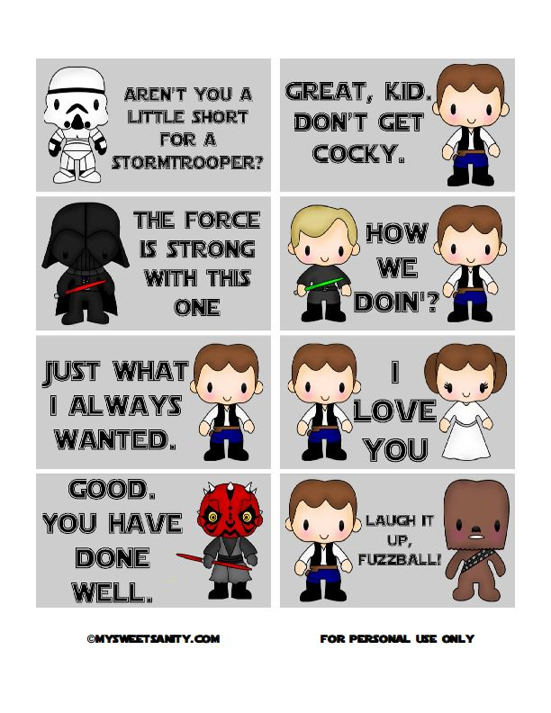 """Love these free printable Star Wars lunchbox notes for kids! (""""I love you"""" Is pretty funny.) 