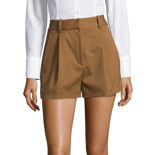 Versace Pantaloni High-Waisted Shorts (€160) ❤ liked on Polyvore featuring shorts, high-rise shorts, versace shorts, camel shorts, highwaist shorts and high waisted zipper shorts