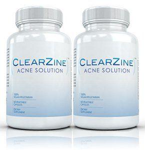 Clearzine (2 bouteilles) – Le Top Évalué Traitement de l'acné pilule. Élimine l'acné, les points noirs, rougeurs, couperose et les boutons…