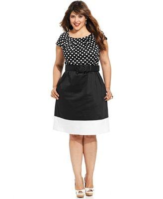Vestido de Tallas Grandes Spense, Short-Sleeve Polka-Dot A-Line