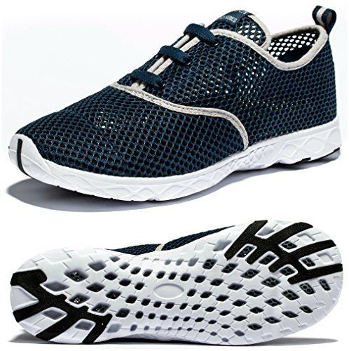 Viihahn Men's Breathable Mesh Lace-Up Quick Drying Aqua Water Shoes  Viihahn Men's Breathable Mesh Lace-Up Quick Drying Aqua Water Shoes are made with lightweight mesh and a midfoot webbing system that integrates with slip on for lightweight breathability and an adaptive, supportive fit. Soft cushioning and breathable RB/Eva outsole,articulated flex grooves offer plush comfort and natural range of motion.Offer you best performance for your water aerobics or river walking.