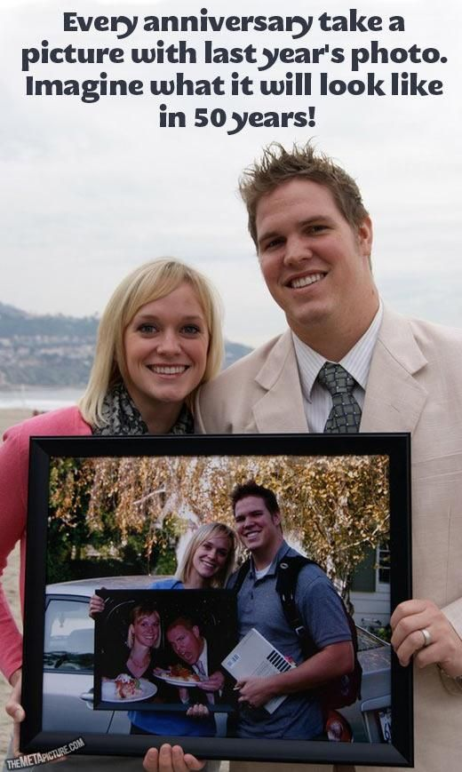Every anniversary take a picture with last year's photo.  GREAT IDEA FOR KIDS each year!!! =)