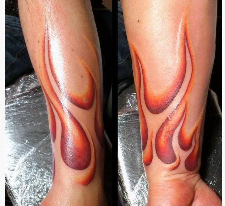 Flame tattoos on forearms celebrity look