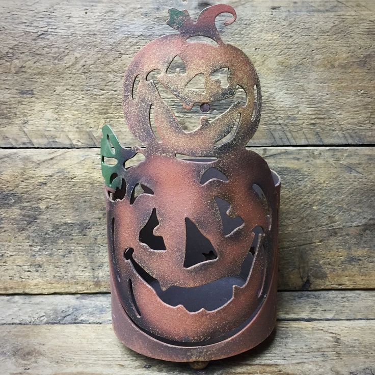 Rustic Jack-o-Lantern Candle Holder