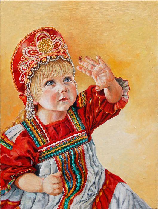 Russian costume in painting. Mirta Spenser. Ladybird. 2011.