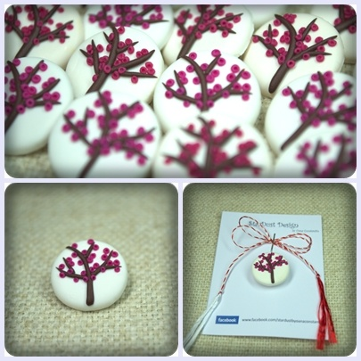 Cherry blossom tree - polymer clay brooch