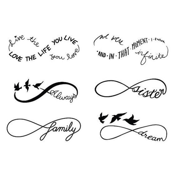 Ensemble de symboles Infinity Temporary Tattoo Set of 6 de Tattify   – … für die Ewigkeit Tattoos