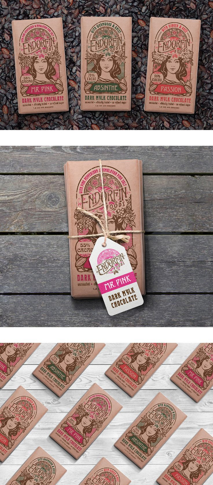 Art Nouveau Packages for Organic Chocolate Bars