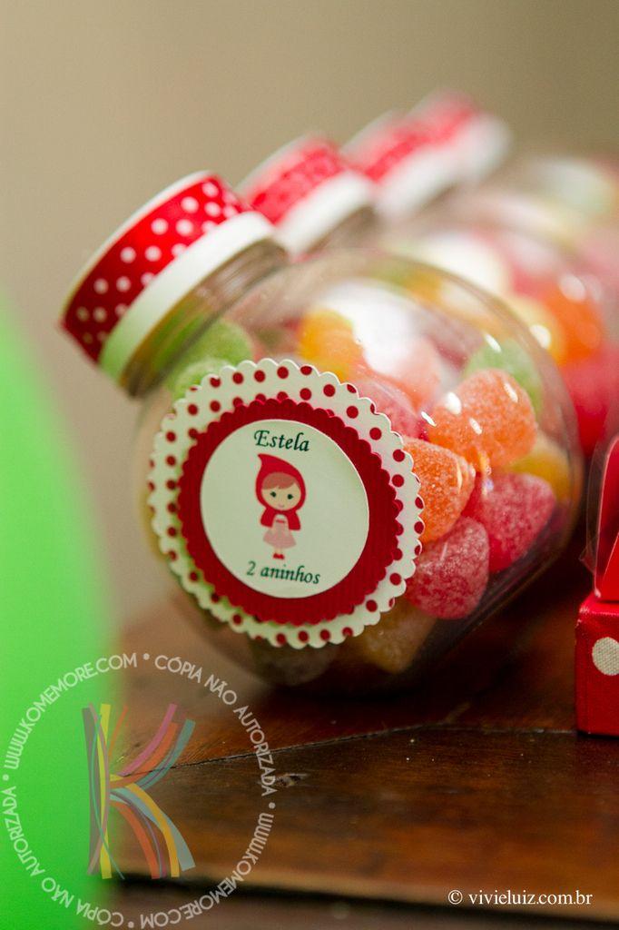 Mini baleiro com jujubas decorado para Festa Chapeuzinho Vermelho | #daJuuh