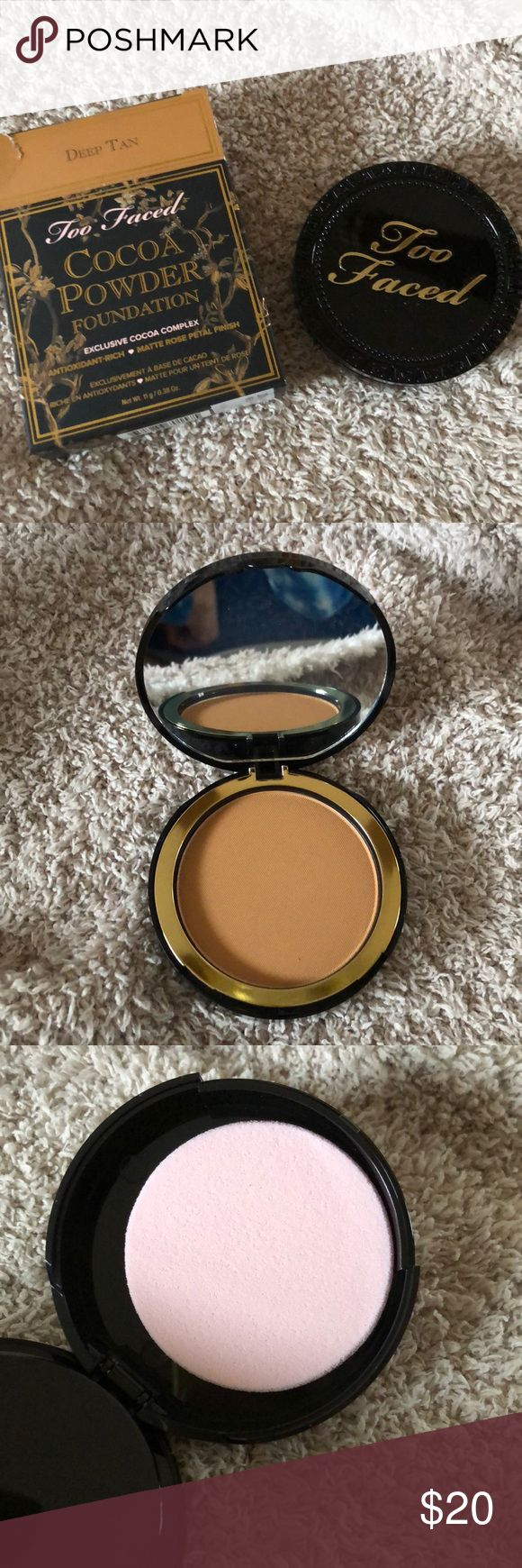 Too Faced Cocoa Powder Foundation Too Faced Cocoa Powder Foundation. Smells just like chocolate! Never been used and comes with sponge to apply the makeup. Deep tan is the color. Too Faced Makeup Face Powder
