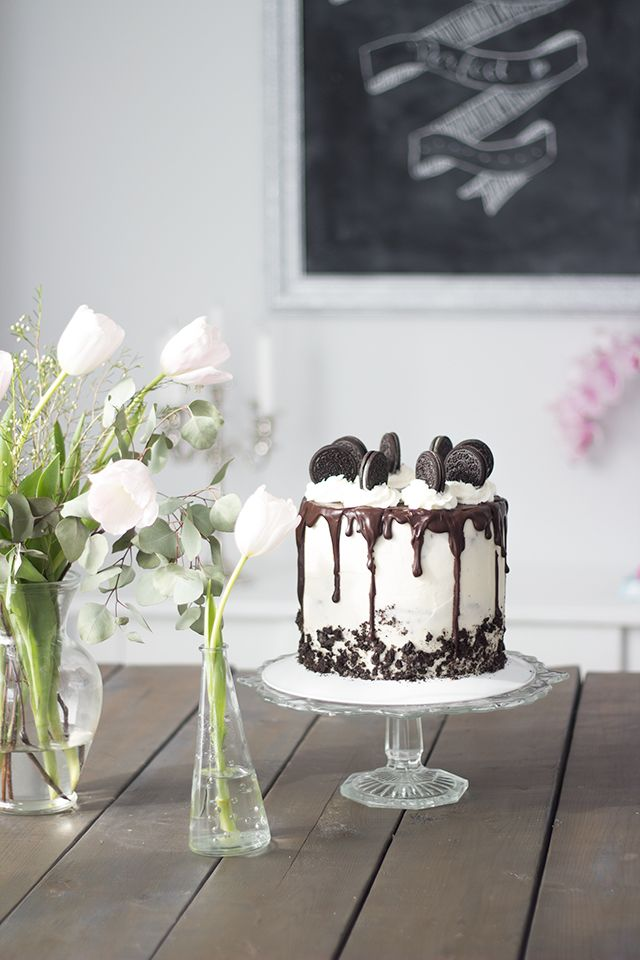 Oreo layer cake with chocolate ganache drip.