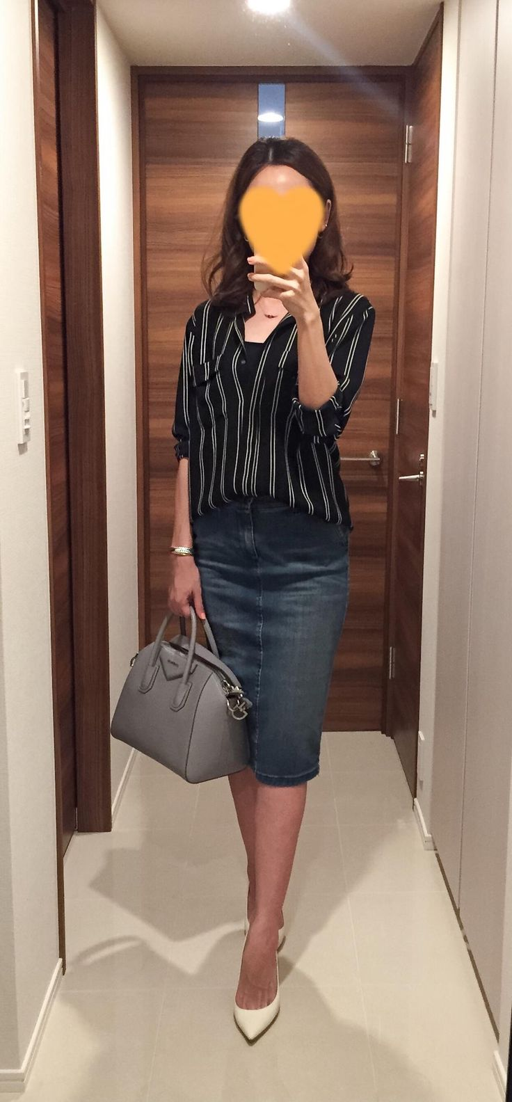 Striped shirt: Ballsey, Denim skirt: SISLEY, Grey bag: GIVENCHY, White heels: Jimmy Choo