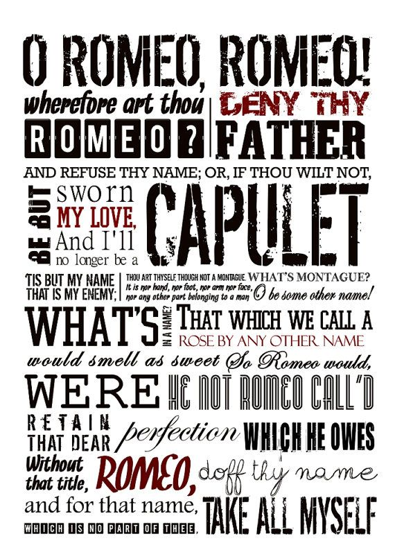 ROMEO and JULIET Poster Shakespeare quote Literature by Redpostbox