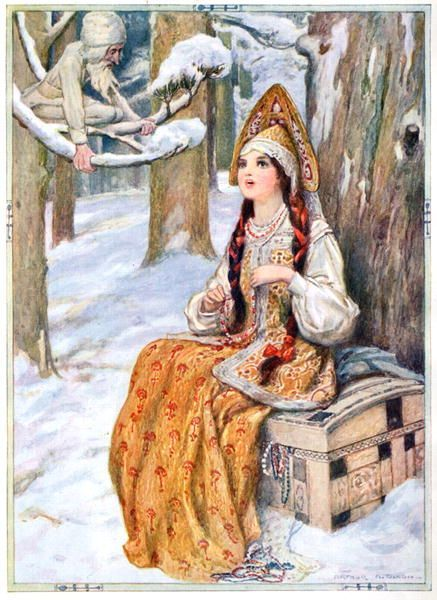 The Frost could not help admiring her, illustration from Stories of Russian Fairy Tales and Legends, published Raphael Tuck, c.1910