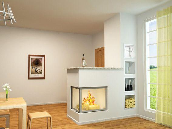 Jasne pomieszczenia z reguły należą do tych ciepłych. I tak jest również w tym wypadku. Oprócz dużego nasłonecznienia również kominek nadaje ciepłego charakteru pomieszczeniu.