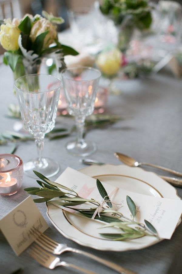 Simple and budget-friendly - use green, leafy stems to accent the place setting #wedding #gardenparty #diywedding #tablescape #placesetting