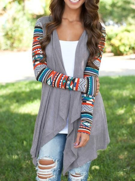 29.99 Fall Fashion Grey Geometric Print Drape Front Knit Cardigan - Crystalline