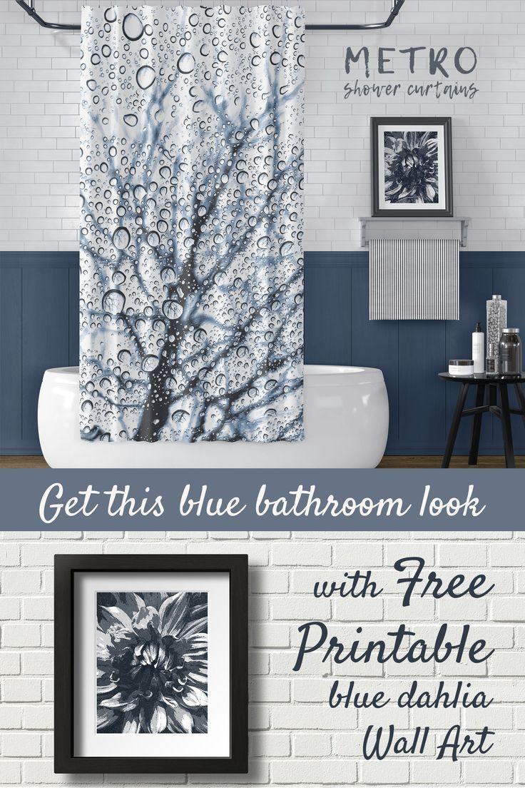 Monochromatic Bathroom Design Slate Blue With Free Printable Wall Art Blue Bathroom Simple Bathroom Renovation White Bathroom Designs