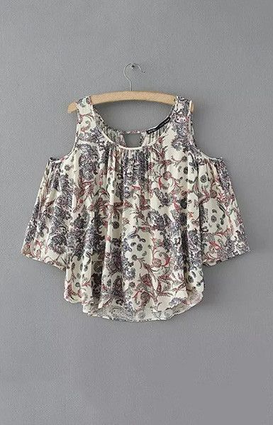 Fashion Ladies' floral print off shoulder blouses vintage sexy O neck half sleeve shirts casual loose brand tops