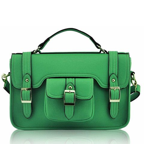 Satchels   Emerald Classic Buckle Satchel Bag with Long Strap - Satchels and Shoes