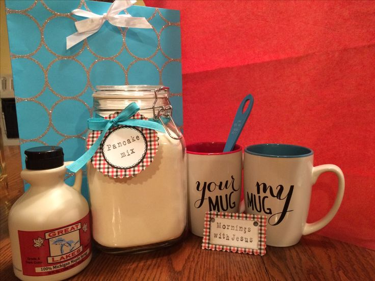 """Wedding gift I put together for some friends: """"Mornings with Jesus"""" Homemade pancake mix+syrup, his and hers mugs, scoop, and the """"Love Dare"""" daily devotional for couples."""